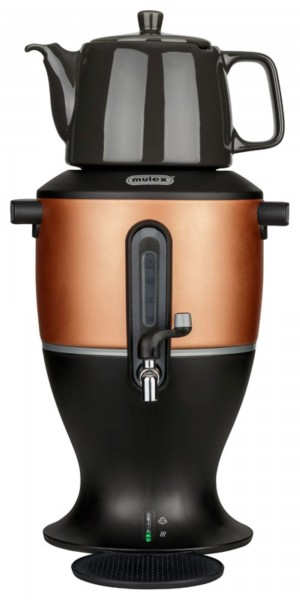 Samowar Teekocher kupfer 3,0 Liter, Porzellankanne