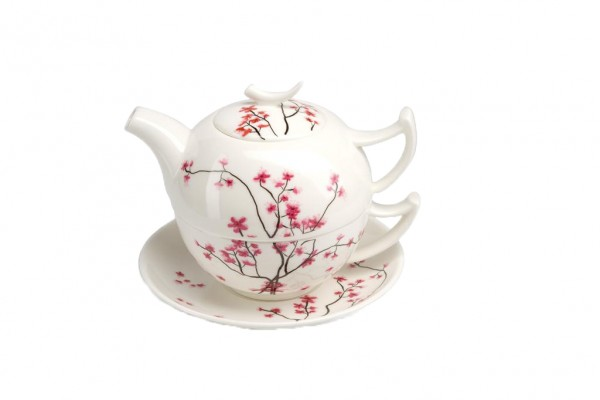 Tea for one Cherry Blossom (Tasse 0,25l, Kanne 0,5l, Untertasse)