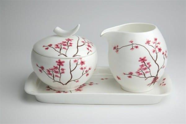 4-TeaLogic Milchkännchen und Zuckertopf mit Tablett Cherry Blossom-4260132970985