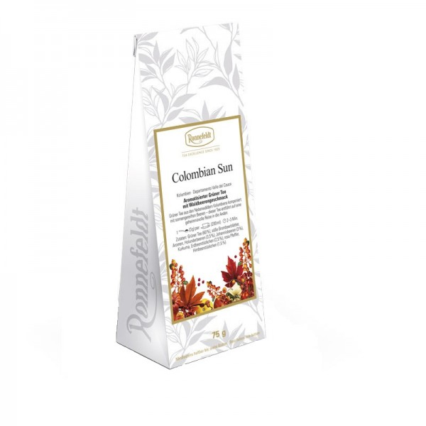 Colombian Sun aromatisierter grüner Tee Waldbeerengeschmack 75g